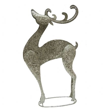 large champagne glitter metal reindeer freestanding christmas ornament - Metal Reindeer Christmas Decorations